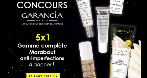 5 Gammes complètes Marabout anti-imperfections GARANCIA offertes